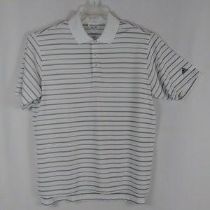 Adidas white stripe golf polo shirt men's size XL